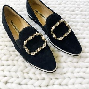 KARL LAGERFELD Black Jewel Pearl Loafer Sneakers